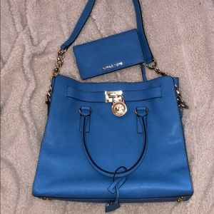 Michael Kors blue purse with wallet